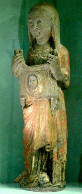 Vétheuil_(95),_église_Notre-Dame,_bas-côté_sud,_4e_chapelle,_statuette_de_sainte_Véronique,_XIVe_siècle
